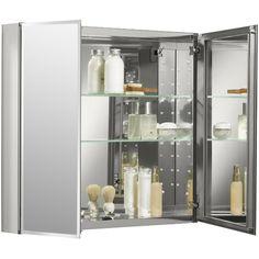 "Kohler 30"" W x 26"" H Aluminum Two-Door Medicine Cabinet with Mirrored Doors, Beveled Edges"