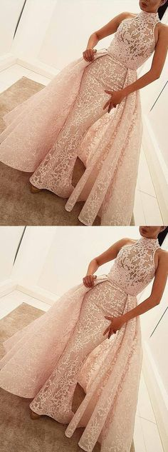 Lace Bridal Gown with Train,Mermaid Wedding Dress with High Collar,Handmade Prom