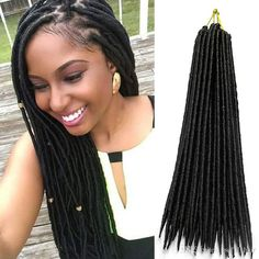 Faux locs use extensions or hair weave to create a beautiful natural hair style that emulate real locs. Use our tutorials to install faux locs yourself. Crochet Braids Hairstyles, African Braids Hairstyles, Weave Hairstyles, Straight Hairstyles, Hairstyles 2018, Faux Dreads, Synthetic Dreadlocks, Short Hair Cuts, Short Hair Styles