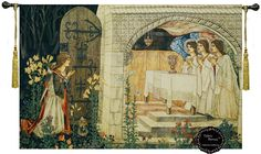 """Achievement of the Grail Medieval wall hanging tapestry home decor with tassels Size 55""""X39"""" holy Grail"""