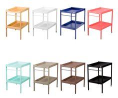 Acabados del mueble cambiador: barniz natural, laca blanca, topo, gris claro, negra, fucsia, rosa y verde menta.