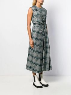 Modern tartan midi dress