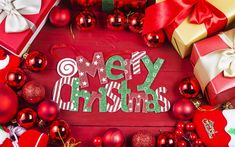 Download wallpapers Merry Christmas, New Year, red Christmas balls, decorations
