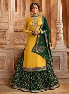 We have launched our new collection of bollywood celebrity lehenga choli online. Buy this Drashti Dhami georgette satin lehenga choli. Lehenga Choli Designs, Long Choli Lehenga, Lehenga Choli Online, Anarkali, Ghagra Choli, Lehenga Suit, Sharara Suit, Salwar Suits, Indian Designer Outfits