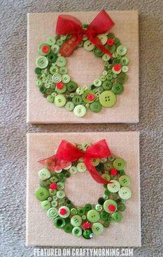 Artesanato de Natal guirlanda de botão crafts kids