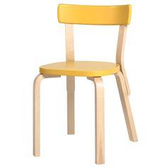 Aalto chair 69, yellow, by Alvar Aalto.