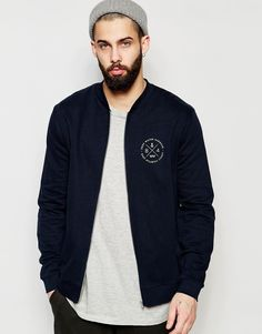 Image 1 of ASOS Jersey Bomber Jacket With Chest Print In Navy