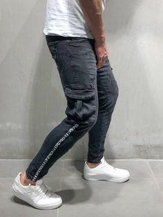 STOP Men Negros FX Fit Skinny Flap Vaqueros Ankle Cargo FASH Hombre De 4132 Ropa Jeans Black vrHqvwZWR