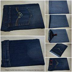 Upcycling - ausführliche Anleitung, wie man eine Schutzhülle für Kalender, Notizbuch, e-reader oder Tablet näht. Tutorial - Nähanleitung - Schnittmuster - Jeans - Upcycling - alte Jeans neues Leben