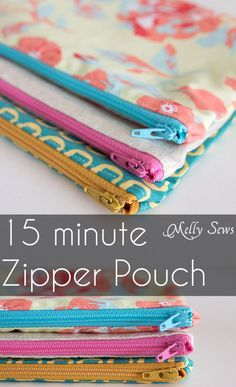 How to Sew a Zipper Pouch - 15 minute sewing project - Melly Sews - great practice sewing zippers