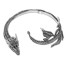 Khaleesi's iconic silver drogon choker AS SEEN in Game Of Thrones Season 5 and 6. Your Mother of Dragons neck sculpture is made to order.