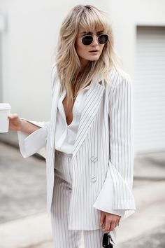 Summer | Suit | Stripes | White | Blogger sunglasses | More on Fashionchick.nl