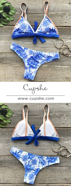 Something soft&hot for you-$19.99 Only & short shipping time. Just enjoy it. Cupshe Never Be Apart Coconut Bikini Set features Coconut and triangle top style. See the full collection at Cupshe.com !