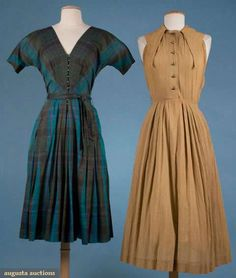 Two Claire Mccardell Cotton Day Dresses, 1952, Augusta Auctions, November 2009 Museum Fashion & Textile Sale, Lot 236Love the way McCardell uses waist gathers to great effect