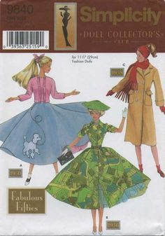 Retro Vintage Sewing Pattern | Doll Clothes for 11½ Fashion Dolls | Simplicity 9840 | Year 2001 | One Size | Fabulous Fifties
