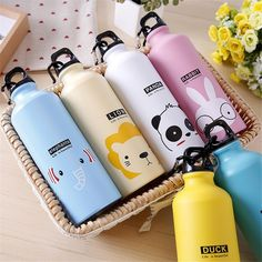 Kids Gift Portable Water Bottle Cute Animal Pattern Bottle Cup Outdoor Sport Hiking Climping Drinking Bottle with Hooker Thermos Water Bottle, Drinking Water Bottle, Stainless Water Bottle, Cute Water Bottles, Drink Bottles, Store Concept, Sports Drink, Vacuum Flask, Jars