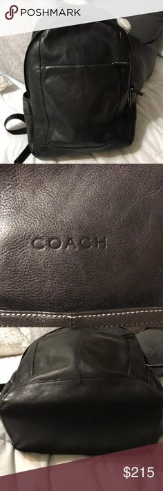 """Large Authentic leather Coach backpack Good condition, black leather straps are grey and black silver hardware, measures 15""""20""""6 Coach Bags Backpacks"""