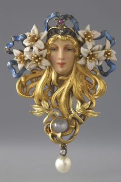 ART NOUVEAU BROOCH~ Sarah Bernhardt brooch, by Georges Fouquet, Paris, circa 1895. Gold, enamel, diamond, ruby, sapphire and pearl.