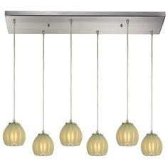 Melony 6 Light Pendant In Satin Nickel And Jade Glass