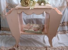 Shabby Chic Pink Magazine Rack, Coffee Table, End Table, French Farmhouse Chippy…