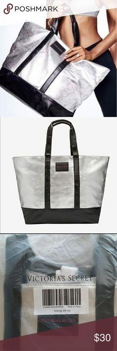 VS Silver Metallic Weekender Tote Bag Silver Metallic in color Large weekender size New in packaging Victoria's Secret Bags Totes