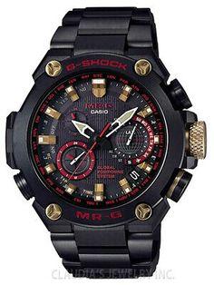 G-shock Mr-g Gps Hybrid Radio Controlled Black/red Mrg-g1000b-1a4 Casio G-shock, Casio Watch, G Shock Watches, Watches For Men, Wrist Watches, Casio Vintage, Herren Chronograph, G Shock Black, Titanium Watches