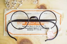 Vintage American optical Spectacles Eyeglass Round New Old Stock 12k Gold Filled Made In USA Glasses saddle Bridge Plastic Wrapped Frames by hisandhervintage on Etsy