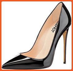 ELEHOT Womens Sexy Patent Leather Shoes 12cm Extreme High Heel Stilettos Work Bridal Dress Pumps US Plus Size 4-15, Black Patent-12cm, 5 B(M) US - Pumps for women (*Amazon Partner-Link)