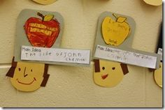 """cute learning project...read the Johnny Appleseed book, then have the kids write what they think was the """"main idea"""" and a detail from the book. Also there is a printable word (vocab or spelling) worksheet that is cute! And an apple monster craft...very cute days worth of crafting!"""
