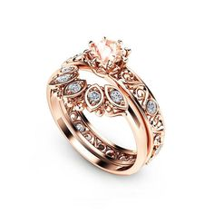 """Filigree Design Morganite Wedding Ring Set in Rose Gold Unique Peach Pink Morganite Engagement Set Art Deco Styled Wedding Rings - Camellia Jewelry - For That """"Yes"""" Moment Emerald Wedding Rings, Art Deco Wedding Rings, Unique Diamond Engagement Rings, Engagement Sets, Morganite Engagement, Bridal Rings, Unique Rings, Wedding Bands, Camilla"""