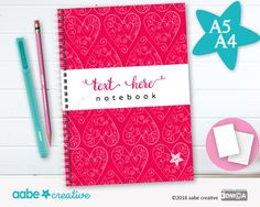 Personalised Notebook (Curly Hearts), handmade stationery - lots of designs to choose by aabecreative on Etsy