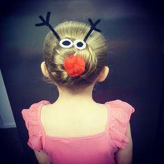 Top 100 christmas hairstyles photos We #found RUDOLPH hiding in #miss6 hair  ❤❤❤ #kids #crazyhair #crazyhairdontcare #rudoloh #christmashair #love  #christmashairstyles #loveit #bun #hairstyle #hair #hairstyles #instakids #character #updo #fun #funhair #hairhairhair #sillyseason #nailedit #reindeer #cute #instacute See more http://wumann.com/top-100-christmas-hairstyles-photos/