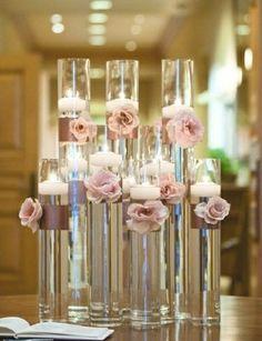 romantic vintage reception wedding flowers,  wedding decor, romantic vintage chic wedding flower centerpiece, pink peach wedding flower arra...