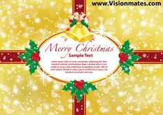 Christmas gift ribbon card with gold blurred background with gold jingle bells and red gift ribbon. Premium Merry Christmas 2013 gift ribbon card design in Adobe Illustrator