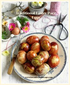 Traditional Easter Pace Eggs - Lavender and Lovage Eggs In A Basket, Brunch Table, Duck Eggs, Brown Eggs, Easter Traditions, Egg Decorating, Easter Recipes, Lavender, Food And Drink