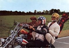 Easy rider, 60's Americana, Thats Jack Nicholson on the back, Dennis Weaver on the other bike and off course Peter Fonda riding Captain America, the bikes name.