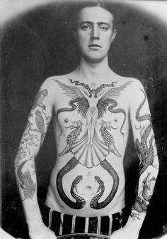 Tatted Up in Victorian Times: Fascinating Photos Show the Work of Sutherland Macdonald, One of the First British Tattoo Artists ~ vintage everyday Rattlesnake Tattoo, Victorian Tattoo, Victorian Era, British Tattoo, Russian Tattoo, Zealand Tattoo, History Tattoos, Victorian Pictures, Tattoo People