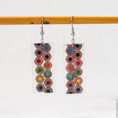 """Купить Серьги """"Цветные карандаши"""" - комбинированный, карандаш, смола эпоксидная, смола украшения, дерево"""