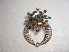 Vintage Goldtone Pink and Blue Gold Pin or Pendant  (floral) frame/wreath