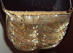 Gold Mesh Purse Evening Cross Shoulder Metallic Mail Chain Strap Handbag Ruched  #Unbranded #EveningBagShoulderBag