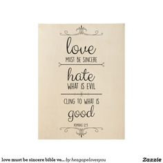 love must be sincere bible verse wall art