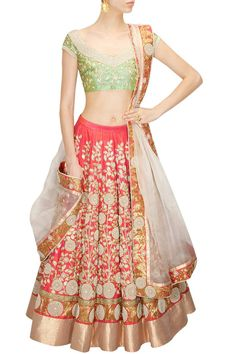 Coral Colour Bridal Wedding Lehenga Choli by PanacheHauteCouture on Etsy