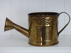 Hosley Brass Watering Can - Small Size - Big Design - Vintage Good Condition - Clean - Works as Designed - Mini Brass Vase or for Zen Garden by ChicAvantGarde on Etsy
