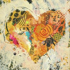 Heart Painting - Joyful Heart 12 by Shelli Walters Heart Collage, Collage Art Mixed Media, Heart Artwork, Heart In Nature, Poetry Art, Heart Painting, Art Classroom, Art Journal Pages, Art Lessons