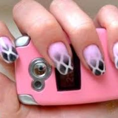 Neat pink and black airbrush nails