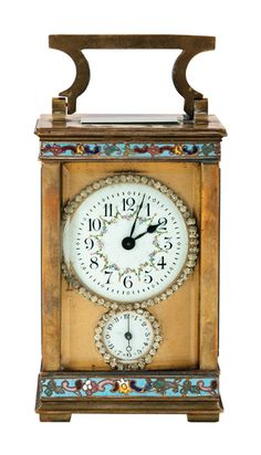"""Clocks – Decor : """"A brass and enamel and jewelled carriage clock"""" by Unknown (Lot Number Antique Watches, Antique Clocks, Vintage Clocks, Mantel Clocks, Clock Decor, Small Clock, Carriage Clocks, Clock Shop, Retro Clock"""