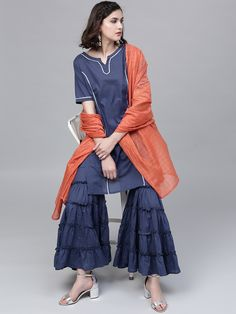 Buy AKS Women's Blue Solid Kurta With Sharara & Dupatta online in India at best price.Blue solid kurta with sharara and dupatta Blue straight knee length kurta, has a round neck, short sleeves, Designer Punjabi Suits, Designer Anarkali, Plazzo Suits, Buy Suits, Ethnic Fashion, Womens Fashion, Sharara Suit, Salwar Suits Online, Loose Shirts