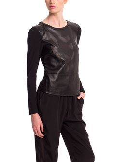 On ideel: FATE Long Sleeve Faux Leather Top