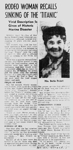 Mary Ann's account of the Titanic disaster. about 1945