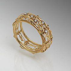 Gold Bamboo Ring Narrow Band